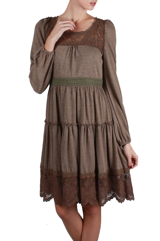 Ryu Crochet Brown Dress