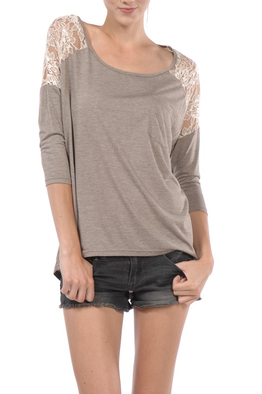 A'reve Half Sleeve Top with lace shoulders