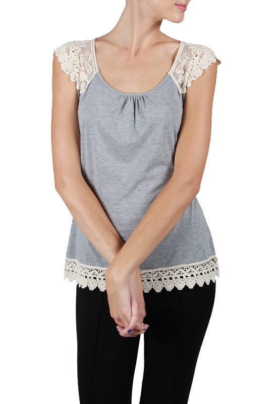 A'reve tank top with crochet shoulders