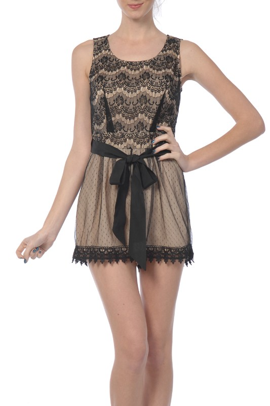 A'reve Sleeveless Lacey Short Romper Black or Dusty Rose