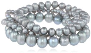 Stretchy Gray Pearl Bracelet Set