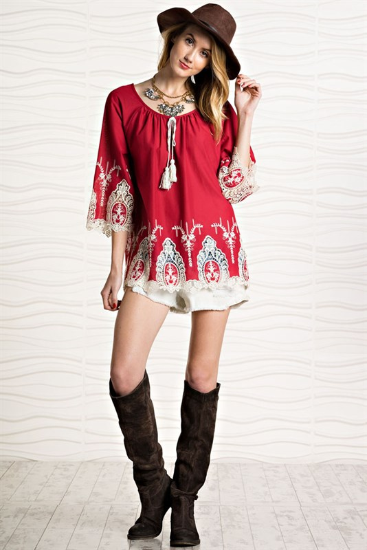 Easel red embroidered red top