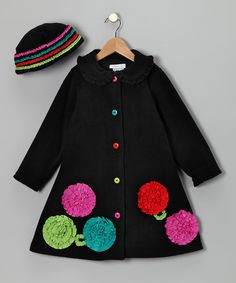 Allison Anne Black Coat and Hat Set