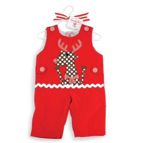 Mudpie Baby Corduroy Reindeer Overall