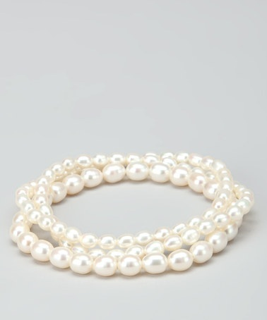 Stretchy White Pearl Bracelet Set