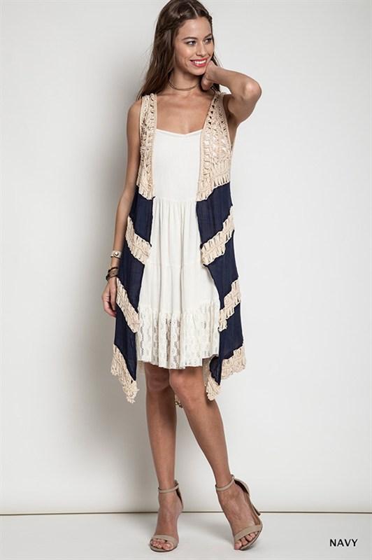 Umgee Navy Crochet Long Cardigan