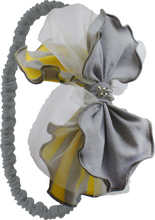 Isobella and Chloe Yellow & Grey Striped Headband