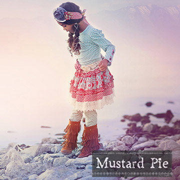 Mustard Pie Spa Blue Floral Addie Skirt PREORDER ONLY