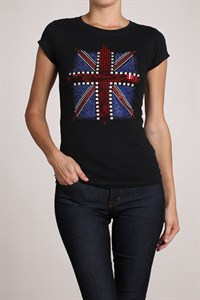 Double U Brand UK Flag Short-sleeve fitted tee with sequin