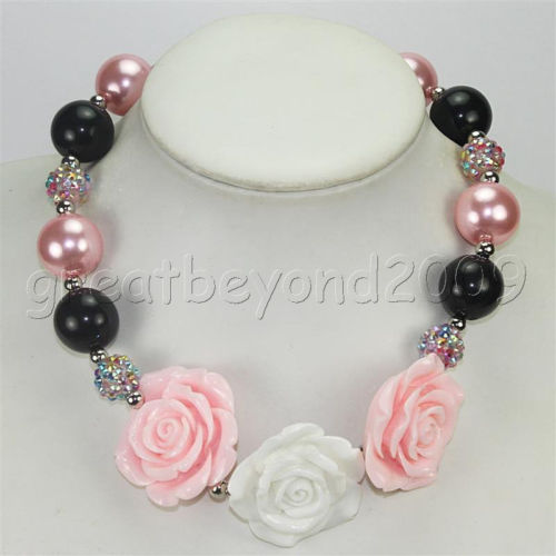 Black and Pink Rose Necklace
