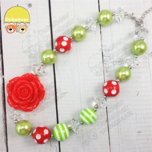 Christmas Rose Bubblegum Necklace