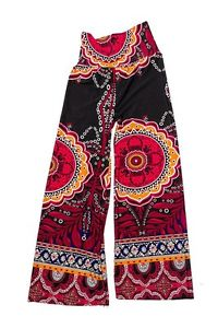 J Up Black and Burgundy Wide leg Boho Palazzo Pants