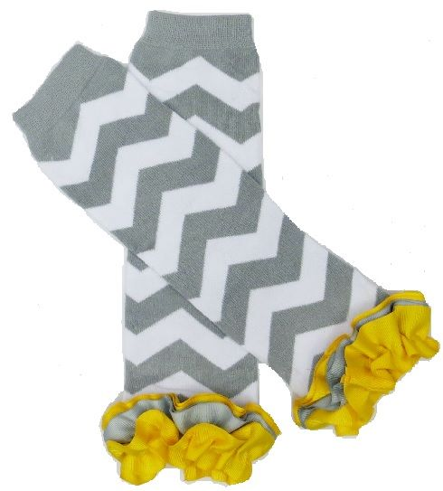 Gray and Yellow Chevron Legwarmers