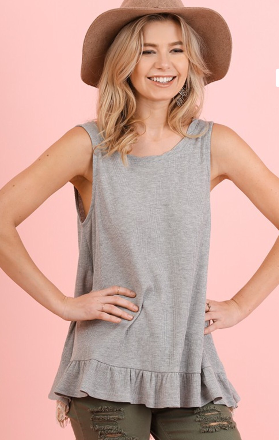 Umgee grey back lace top