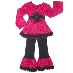 Ann Loren Girls Boutique Pink & Red Floral Peasant