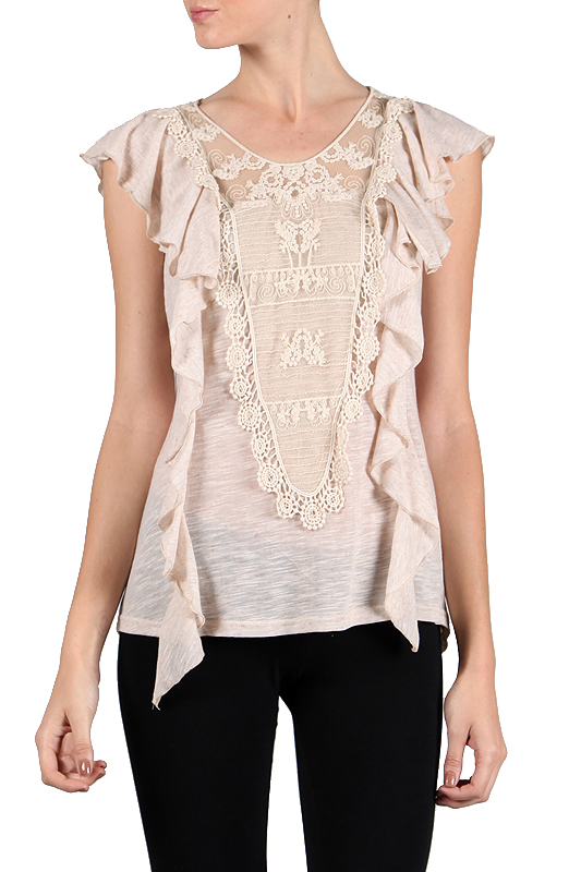 A'reve Taupe Ruffle Vest