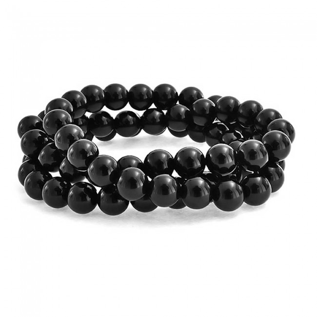 Stretchy Black Pearl Bracelet Set