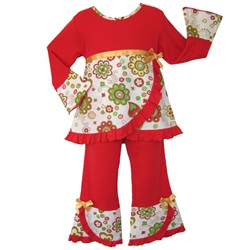 Ann Loren 2pc Girls Boutique Red Christmas Pants Set