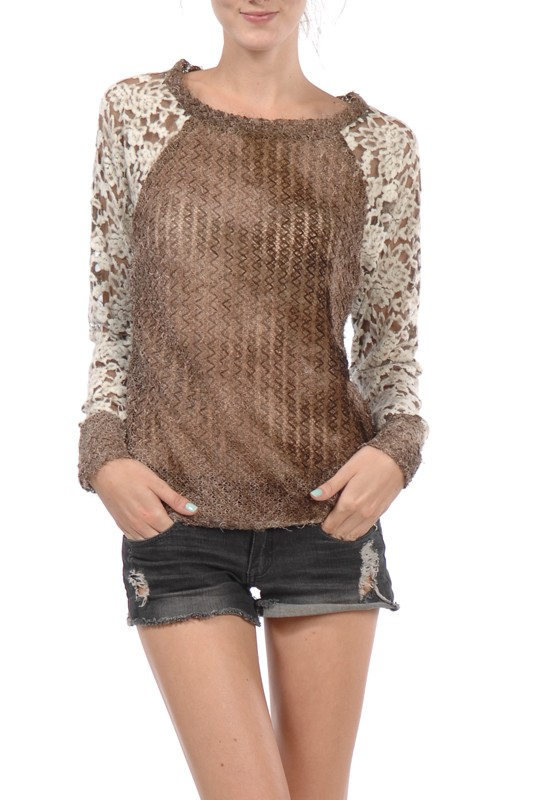 A'reve Brown Longsleeve Top with Lace Arms
