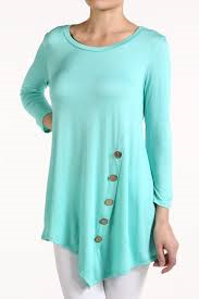 Mint Solid Button Detailed Top
