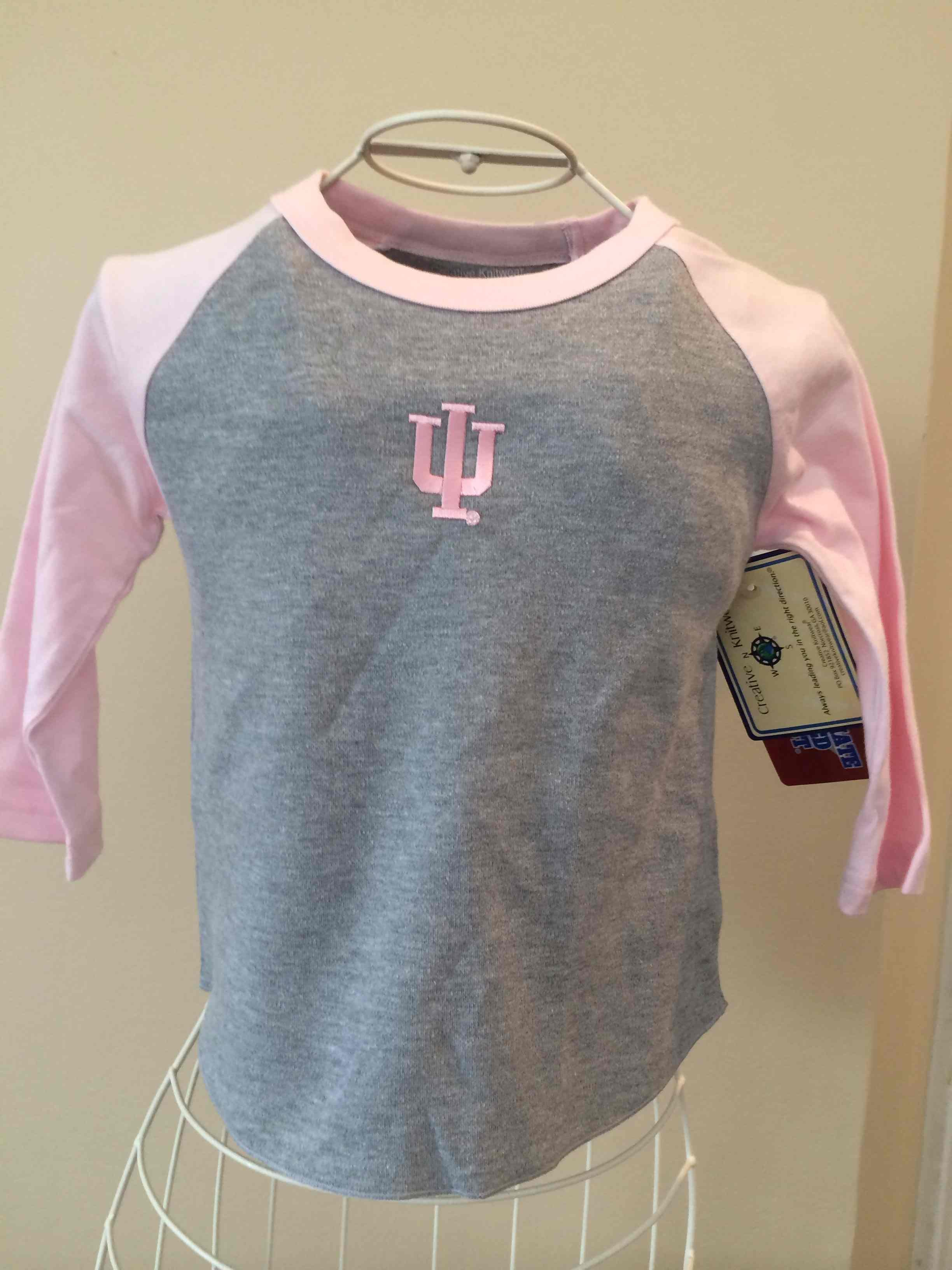 Indiana University Pink and Grey long sleeve baseball Tshirt