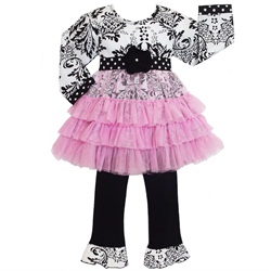 Ann Loren Girls Cotton Damask Tunic Dress w/ Tulle overlay & Pants