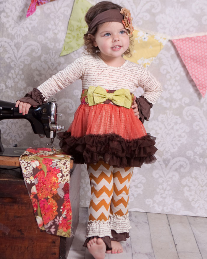 Giggle Moon Fall Blossom Tutu Dress with Leggings