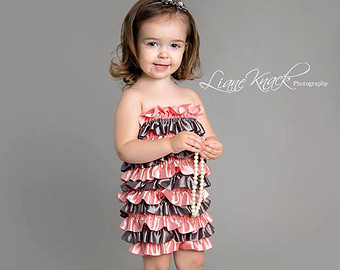 Chicaboo Pink and Gray Ruffle Romper