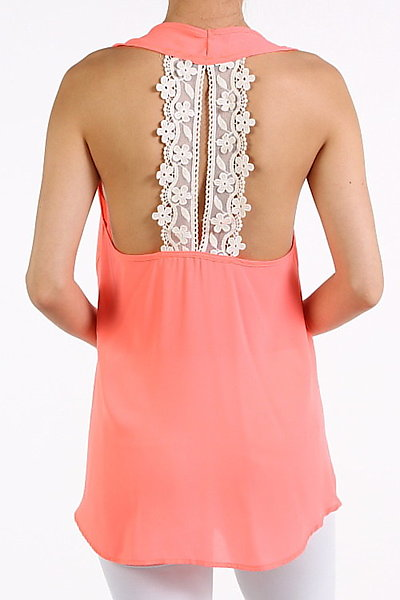 Chiffon Sleeveless Tank in Coral