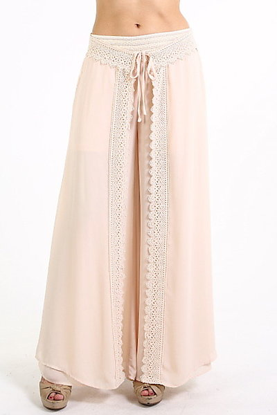 Soieblu Chiffon Palazzo Panel Pants in Cream