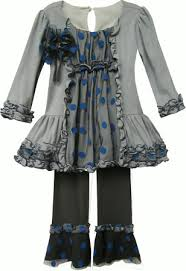 Isobella and Chloe Alexis Grey Blue Long Sleeve 2 Pc. Pant Set