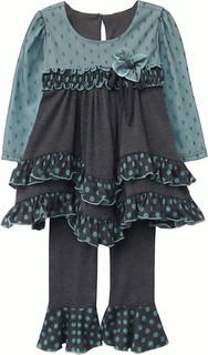 Isobella and Chloe Caspian Sea Turquoise Long Sleeve Pant Set