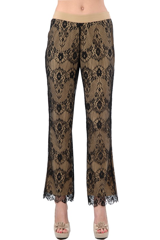Ryu Black and Beige Lace Overlay Pant