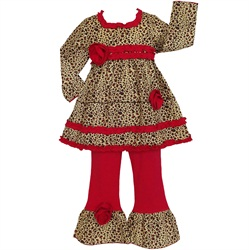 Ann Loren Girls Cotton Leopard Tunic & Red Pants Outfit