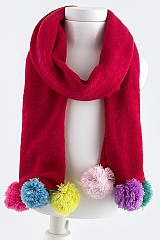 Fuzzy Ball Accent Scarf