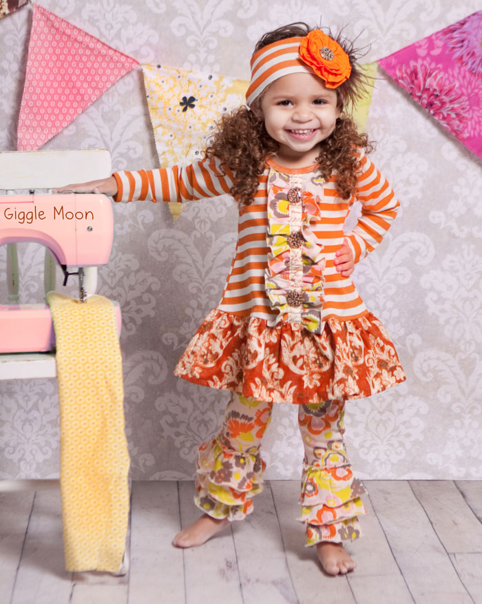 "Giggle Moon ""Harvest Party"" Mabel Dress with Ruffle Leggings"