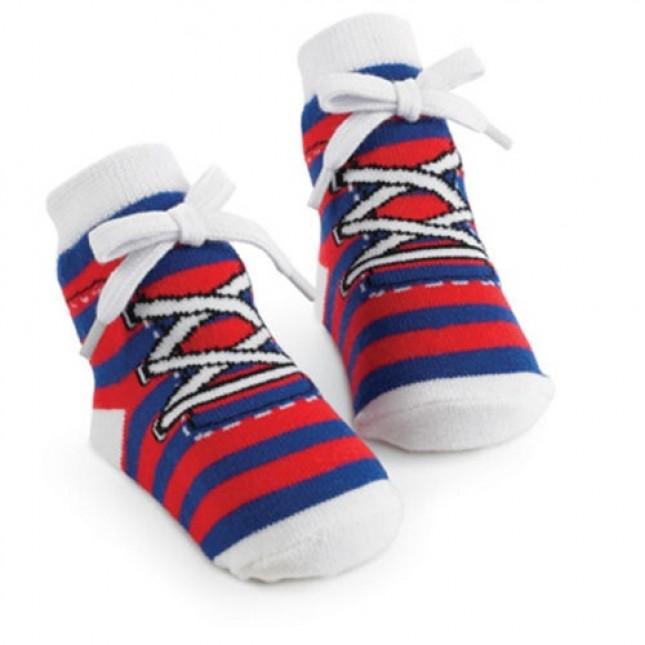 Mudpie Blue/Red Stripe Sneaker Socks