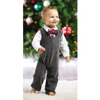 Mud Pie Holiday Best Gray Velour Vest One-Piece