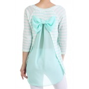Knit Striped Chiffon Bow Top
