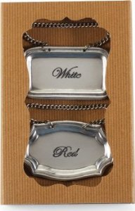 Mud Pie Pewter Wine Bottle Tag Set Red White