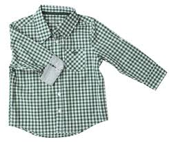 Frenchie Mini Couture Green Gingham Shirt