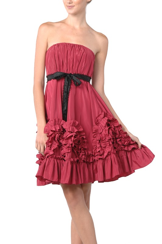Ryu Beige Ruffled Cocktail Dress with Red belt