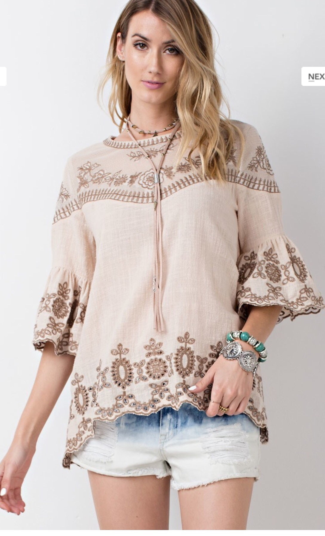 Boho Style Half Sleeve Ruffled top