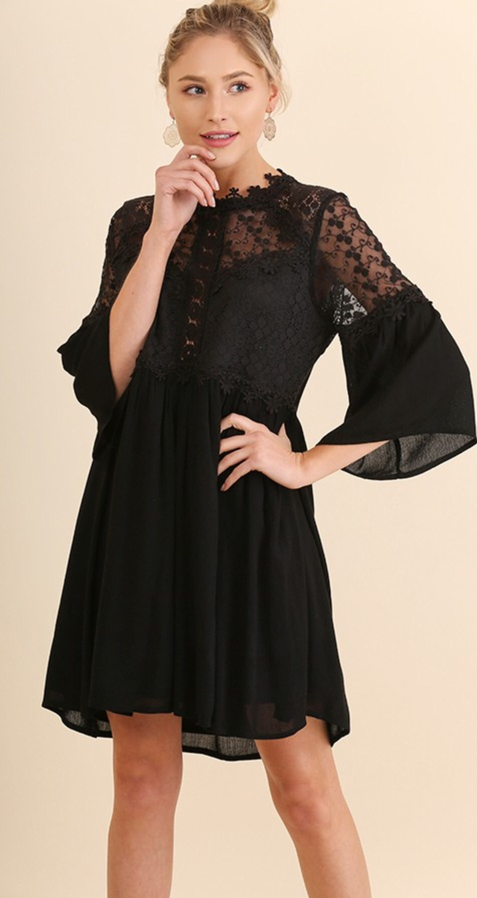 Umgee 3/4 Sleeve Dress with Crochet and Back Cutout Details