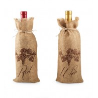 "Mud Pie Grape Vine ""Red"" or ""White"" Vintage Burlap Wine Bottle Gift Bags"